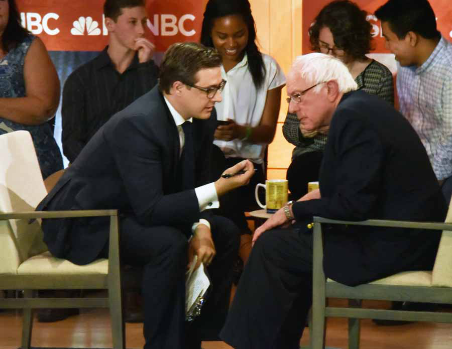 MSNBC's Chris Hayes with Bernie Sanders at the MSNBC Town Hall Meeting at the National Constitution Center.